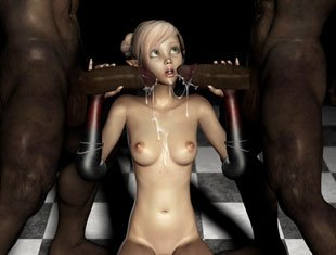 Teen Slut Gobble Black Monsters 3d